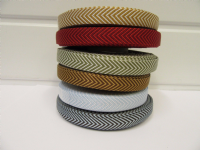 2 metres or 20 metre Roll 10mm Red Woven Chevron Arrow Ribbon Double sided